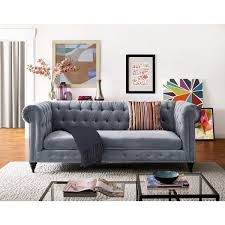 Grey Velvet Sofas Hanny Grey Velvet Sofa Free Shipping Today Overstock Com