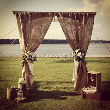 burlap wedding ideas rustic wedding ideas burlap wedding altar deer pearl flowers