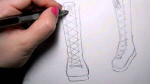 how to draw manga shoes tall lace up boot youtube