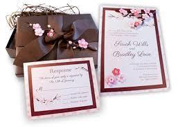 cherry blossom wedding invitations avant garde boho chic rustic brown pink country club