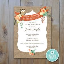 owl baby shower invitation burlap owl invitation printable