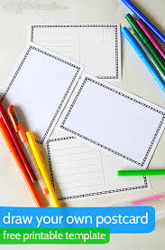 printable postcard template for students draw your own postcard picklebums