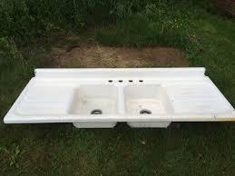 Vintage American Standard Double Basin Double Drainboard - American standard cast iron kitchen sinks