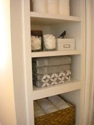 bathroom chic linen closet organization with shelving and closet