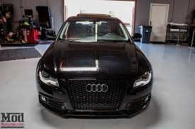 audi a4 matte black b8 audi a4 on solo werks coilovers gets rs4 grille