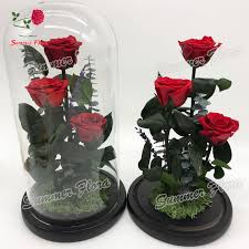 wholesale roses wholesale preserved roses in glass 3 pieces a grade flask for