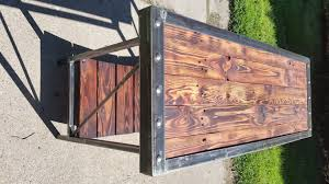 reclaimed wood entry table industrial entry table made from reclaimed wood and metal