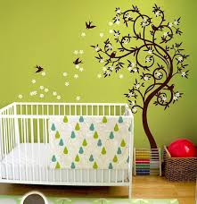 Swallow Birds Flower Swirl Tree Nursery Wall Sticker Kids Room - Kids rooms decals