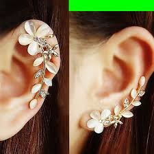 ear cuffs cat s eye gem flower ear cuffs pair no piercing lilyfair jewelry