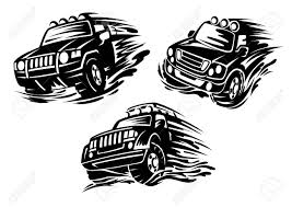 jeep front silhouette dirty jeeps or 4x4 cars in motion with lights on roofs in outline