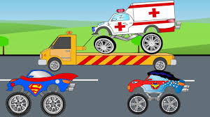 monster truck videos monster truck videos ambulance for kids superman truck vs wonder woman monster truck