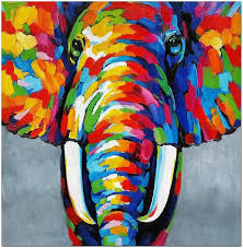 signed hand painted impressionist elephant oil painting