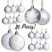 snowflake ornaments set of 20 silver and white