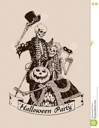 vintage skeletons pumpkin halloween poster party vector illustra