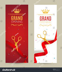 Inauguration Invitation Card Sample Grand Opening Invitation Banner Red Ribbon Stock Vector 524732710
