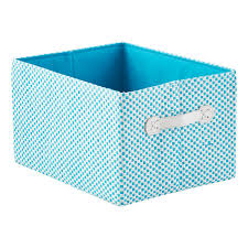 aqua gingham storage bin with handles the container store