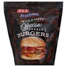 h u2011e u2011b fully cooked bacon cheeseburgers u2011 shop burgers at heb