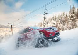 nissan 370z in winter nissan rogue warrior tackles ski slopes with snowmobile tracks