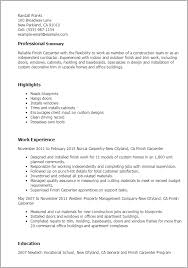 How To Write A Job Summary For A Resume by Professional Finish Carpenter Templates To Showcase Your Talent