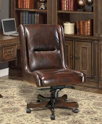 Traditional Office Desks Cigar Brown Genuine Leather Armless Desk Chair Traditional Office
