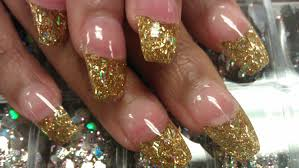 how to coffin gold glitter nails part 3 buff u0026 shine youtube