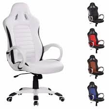 High Back White Office Chair High Back White Leather Gaming Racing Office Chair With Sports