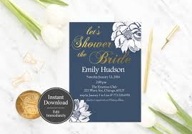 register for bridal shower printable navy bridal shower invitation template flower