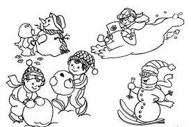 download playing snow winter coloring pages kids print