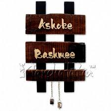 buy two names wooden nameplate design in india panchatatva
