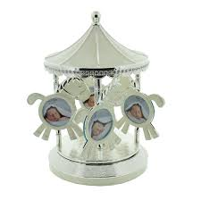 silver plated baby gifts baby musical photo frame carousel silver plated sparkling diamante