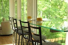 Glass Breakfast Bar Table Floating Glass Breakfast Bar With A View Contemporary Kitchen