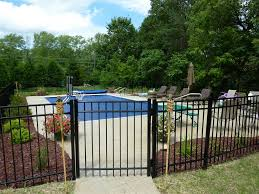 outdoor and patio black iron elba backyard fence combied with
