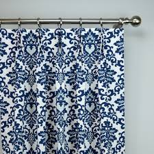 Blue Floral Curtains Navy Blue White Cecelia Damask Modern Floral Curtains Pinch