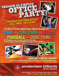 office party flyer amsterdam billiard club fun party spaces in nyc