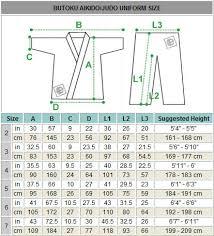 martia arts uniform size chart