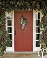 Front Door Decoration Ideas Entrance Doors Christmas Decorating With Pinecones