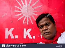 Philippine Flag Means Philippines 30th Nov 2015 A Protester Stands In Front Of A Mock