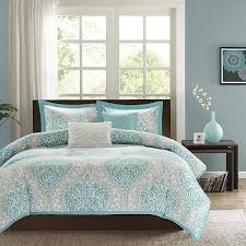 light grey comforter set twin twin xl comforter set in light blue white grey damask pattern