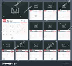2018 Calendar Template Planner 12 Pages Stock Vector