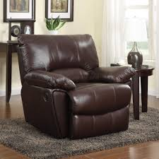 Leather Chair Upholstery Clifford Dark Brown Leather Match Recliner With Pillow Arms