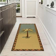 Ultra Thin Bath Mat Amazon Com Ottomanson Sara U0027s Kitchen Tropical Palm Tree Design