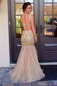gold sequined 2017 prom dresses straps mermaid sequins backless