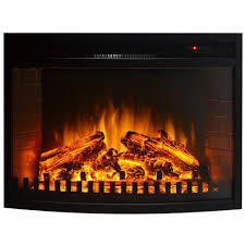 Electric Fireplace Insert 26 Inch Curved Ventless Electric Space Heater Built In Recessed