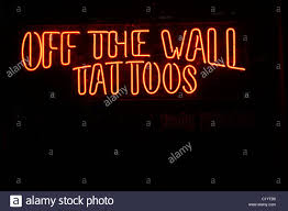 off the wall tattoos sign stock photo royalty free image