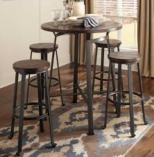 table round metal wood pub set chicago furniture stores dining