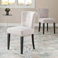 Dhi Nice Nail Head Upholstered Dining Chair Set Of 2 Multiple Colors Wheat by Safavieh Chairs