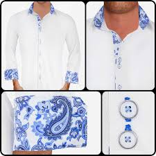 white with blue paisley dress shirts