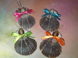 shell ornaments to make christmas ornaments grey scallop angel
