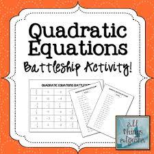 solving quadratic equations battleship partner activity