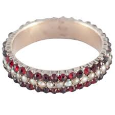 gold eternity rings garnet pearl silver gold eternity ring for sale at 1stdibs
